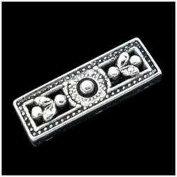 20x ezüst hang 3 lyuk téglalap távtartó gyöngyök 26x9mm G9K2