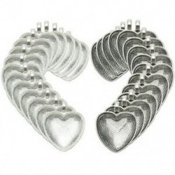2X (30 gróf szív nélküli Bezels ezüst medál tálca 30 számláló üveggel Cabocho T5B5