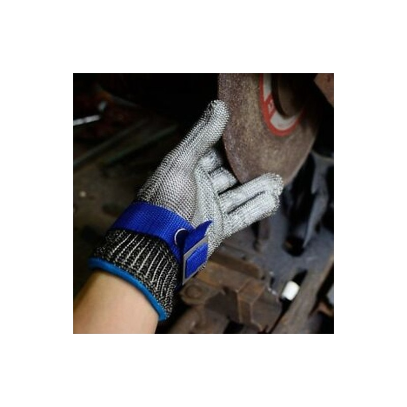 Blue Safety Cut Proof Stab Resistant Stainless Steel Mesh Butcher Glove Hig D5T2
