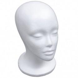 Női hab manöken fej modell kalap paróka kijelző állványrack fehér A7V6
