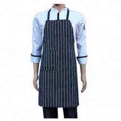 Vízálló Bib kötény Nylon kék és fehér csíkos étterem N6T7