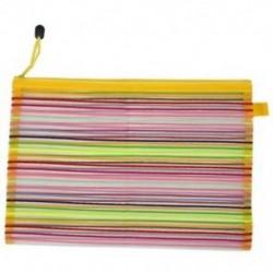 1X (Zip up Nylon Mesh többszínű csíkok A4-es papír dokumentumok tolltartó táska Fo R3Q3