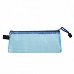 Rácsos kivitel: kék cipzárral záródó puha PVC levélpapír tok P5Z9