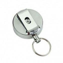 Fémkártya jelvénytartó acél visszacsapó gyűrű, húzószíj szorító kulcstartó ezüst A E4V8