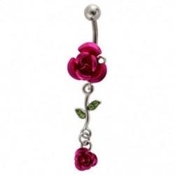 1X (2-rózsa kötésű ékszer hasa gyűrűs köldök gomb - rózsa-piros M5K5)