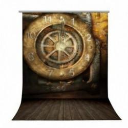 150x90cm-es Streampunk stílusú nagy óra és deszka padló háttér stúdió fotózáshoz - A9Y3