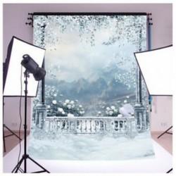 150x90cm-es Erkélyes havas táj háttér stúdió fotózáshoz - B1X3 Y2Y4