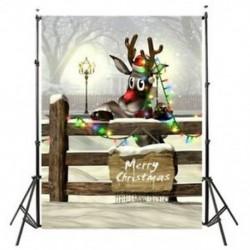 150x90cm-es Rénszarvas karácsonyi égőkkel - Boldog Karácsonyt feliratos táblával háttér stúdió fotózáshoz - V4H7