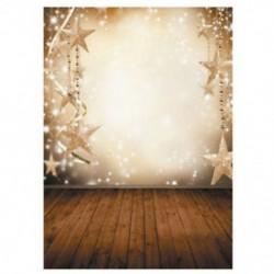 210x150cm-es Karácsonyi csillagdíszes fal és deszka padló háttér stúdió fotózáshoz - W5M2