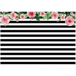 2db 210x150cm-es Fekete-Fehér csíkos - Rózsaszín virágos háttér stúdió fotózáshoz - G2N6