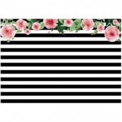 2x (7x5ft-es háttérképekkel) Fekete-fehér csíkos akvarell rózsaszín virágos G2N6