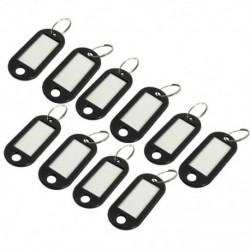 Fekete műanyag kulcstartó / azonosító címke, 10 darab - ezüst, egy méret V7I2