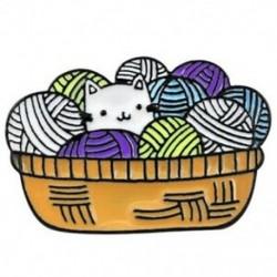 Aranyos gyapjú macska bross fonal kosár cica Snuggling Fantasy fonal golyó zománc T1L5
