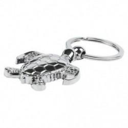 3D ezüst gyönyörű texturált tengeri teknős kulcstartó - fém kulcstartó kulcstartó D9V3 kulcs