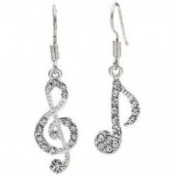2X (aszimmetrikus személyiség divatos hangjegyek fül kampó kristály ezüst színű R6J7