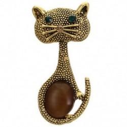 Arany - Vintage opal macska szem bross csapok nőknek aranyos állati brossok Esküvői Par G2J3