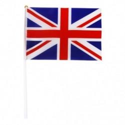 Kézzel hullámosító Union Jack zászlók műanyag pólusai 21 x 14 cm-es csomag 12 piros   fehér O5V4-vel