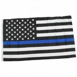 Vékony kék / piros vonalú amerikai rendőrség zászló tisztelete és tiszteletére Banner 3x5 láb Q6X3