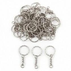 1X (50x gyűrű, 25 mm kulcstartó kulcstartóhoz, 30 mm ezüst fém ékszerek DIY Z5Y4)