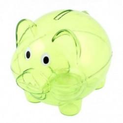 Műanyag gyűjthető malacka bank érme megtakarítási pénzt pénztárgép tiszta zöld F9U3 N2I0