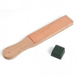 Fa markolatú bőrélező héjvágó kés borotvalapát Polis W4O3-val