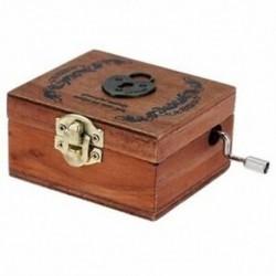 Finom, retro, fából készült zenei dobozos kézifutó dallammemória (szívzár) H8F4