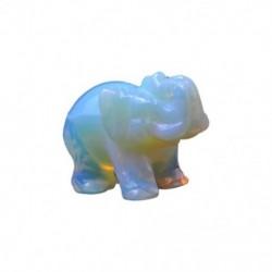 2X (Fehér kézzel faragott gyalogos elefánt dísz dekoráció drágakő ajándék Collecto B9H2