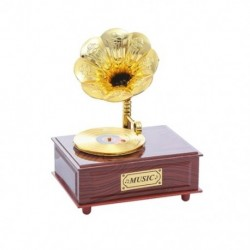 1X (grammofon zenei doboz, szőrme-elise díszdobozban, óramű, fonográf, zene, BI6K6)