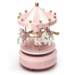 Zenei körhinta ló fa körhinta zene doboz játék gyermek baba rózsaszín játék O4Y6