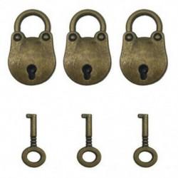 2X (3 db vintage antik stílusú, mini medvefejű, archaizált lakatok kulcstartója W6U3
