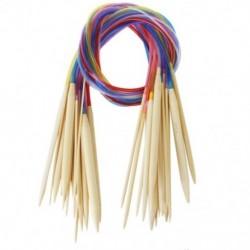 18 méretű kör alakú bambusz kötőtű készlet színes csővel, 2,0 mm-10,0 m Z5E6