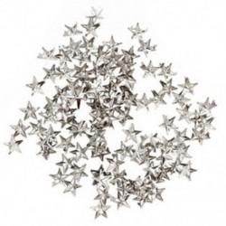 100 X ezüst csillag szegecsek táskához / cipőhöz / kesztyűhöz 10mm S1M7 Q2D5 C4X2