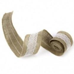 Tekercs 2M esküvői házimunka kézműves zsákvászon szalaggal, fehér csipkével díszített szélességgel, V5E3