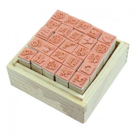 2X (25 db / Set Lovely Diary Pattern Seal Seal bélyegző) Fa doboz többcélú fa R K3F5