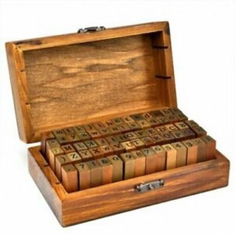 1X (gumibélyegző ábécé száma szimbólum fa dobozkészlet nyomtatási stílusú fa Lett Z7Q9