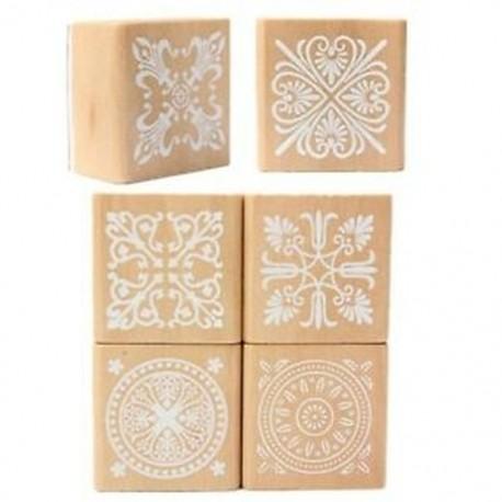 2X (6 válogatott fabélyegző gumi tömítés négyzet alakú kézírás DIY kézműves virág V2G9