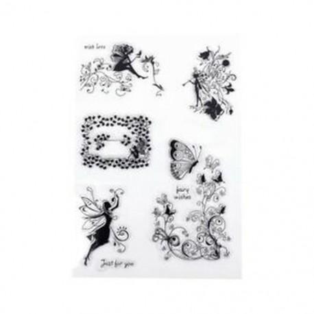 6X (Virág tündér szilikon karácsonyi bélyegző pecsét Scrapbooking napló kézműves kártya U9I2