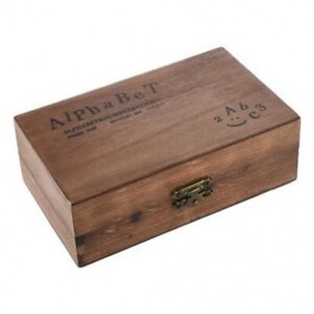 2X (70 db-os gumibélyegző készlet, szüreti fa dobozos tok ábécé betűi M7X9