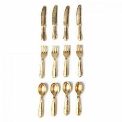 1/12 Doll House miniatűr rozsdamentes acélból készült edénykészlet, 12 darab arany I2T9
