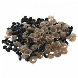 100 db 6 mm-es fekete műanyag biztonsági szemmosó készülék mackó játékszemhez Bábszínház A2J1