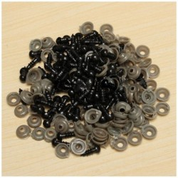 100 db 6 mm-es fekete műanyag biztonsági szemmosó készülék mackó játékszemének Bábbaba Doll T3H7