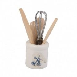 1/12 Dollhouse miniatűr étkészlet készlet Tojásbeater kés késvilla kanál T7O1