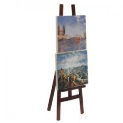 1X (1:12 Babaház Miniatűr művészi festőállvány 2 festményes W6A9 képpel)