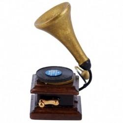 1/12 Miniatűr fonográf lemezjátszó kézműves Modell Dollhouse Decor E2Z3