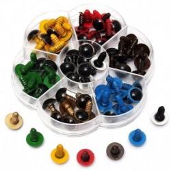 70 db műanyag biztonsági szem a barkács játékokhoz, vegyes színű - 10 mm H1U6