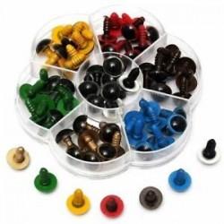 1X (70db-os műanyag biztonsági szem a barkács játékokhoz, vegyes színű, 12 mm, 10 mm, 8 mm - X9E8