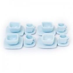 16 db Miniatűr Dollhouse Square étkészlet Porcelán teáskészlet Mu Q5K7 evőeszközök