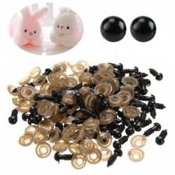 2X (200 db-os fekete műanyag szem a mackó-állati báb diy kézműves készítéséhez (6 mm) P1Z6)