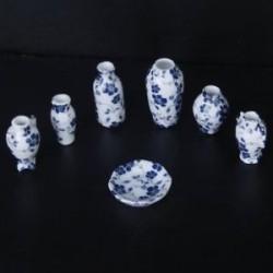 1/12 Babaház miniatűr kerámia porcelánváza kék szőlő -7 darab A6T5 T1W2