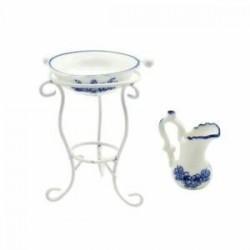1X (1:12 méretű vízkancsó mosdókagyló, 3 darab bútorkészlet a Dollh V9V5-hez